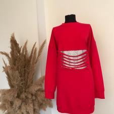 Kırmızı Bayan Pamuklu Sweat Tunik 002