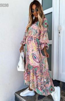 Beli Lastikli Etnik Desen Süprem Elbise