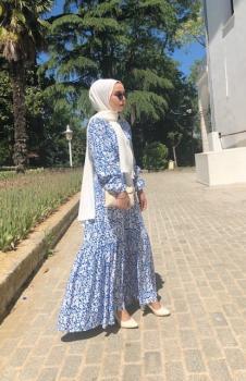 Mavi Çıtır Desen Elbise