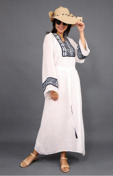 İpek Keten Etnik Desen Beyaz Elbise