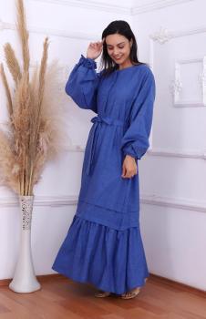 Pamuk Keten Mavi Elbise